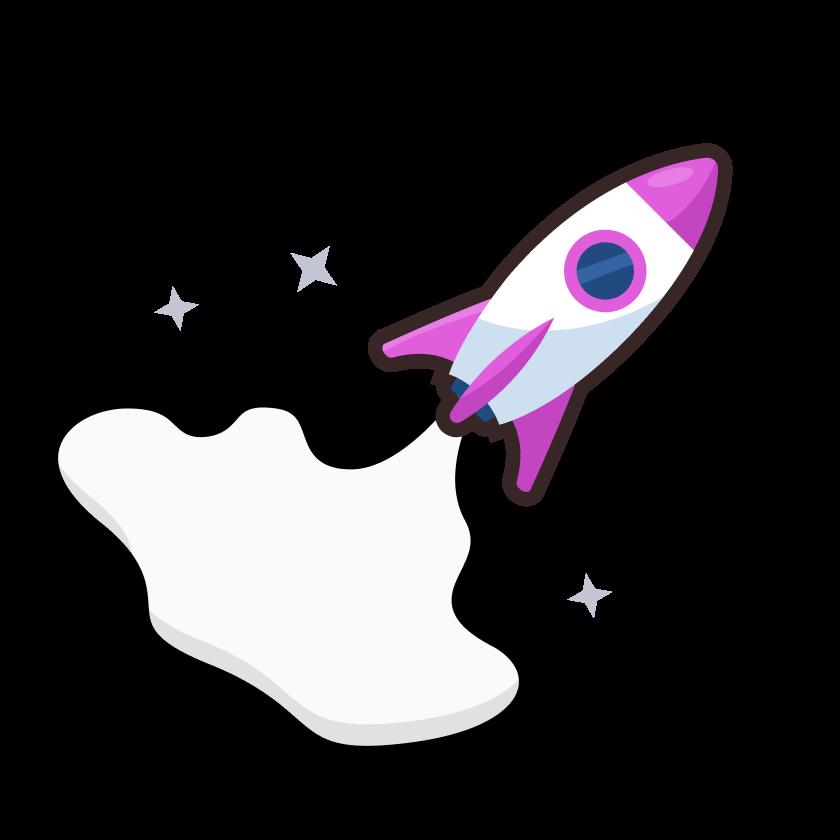 Illustration of a rocket taking off