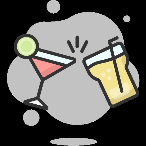 Illustration d'un toast dans deux verres à cocktail fantaisie