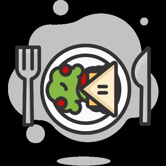 Illustration d'une assiette avec une salade et un sandwich