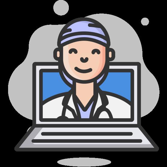 Illustration d'un ordinateur portable et d'un visage de médecin sortant de l'écran