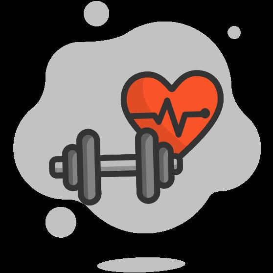 Illustration d'un haltère et d'un coeur