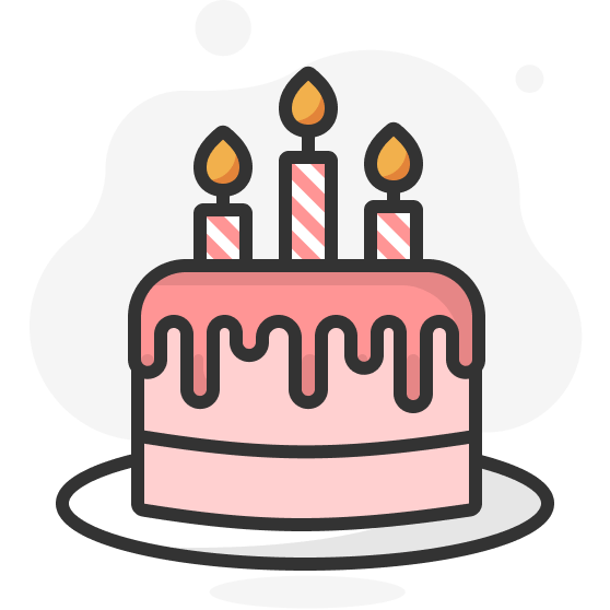 Illustration d'un gâteau d'anniversaire avec trois bougies