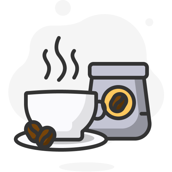 Illustration d'une tasse à café et d'un sachet