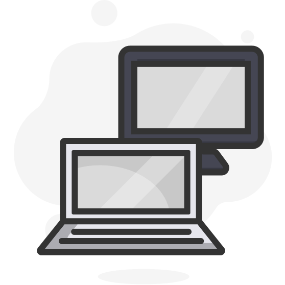 Illustration d'un ordinateur portable et d'un ordinateur de bureau