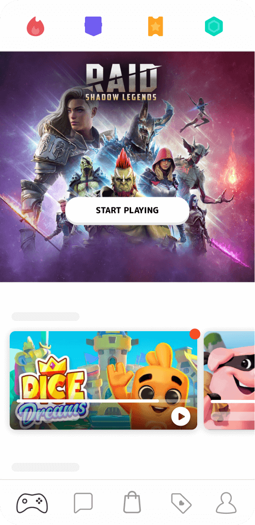 Mistplay interface, welcome screen with featured games
