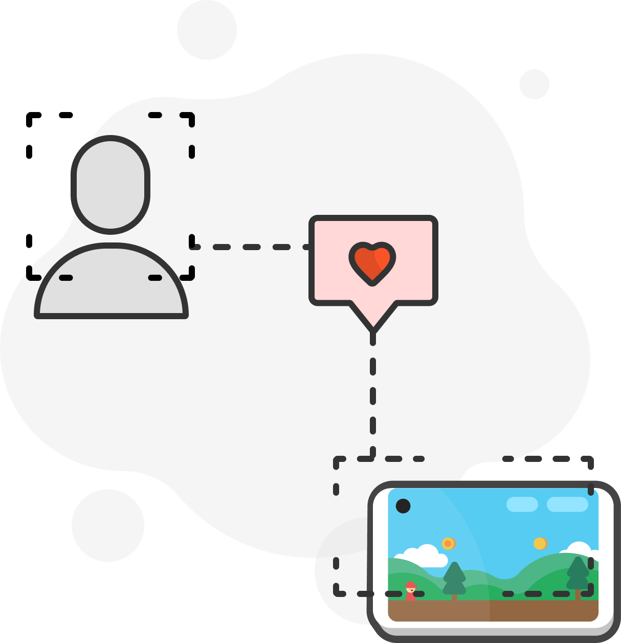 illustration of a heart connecting the user with a phone