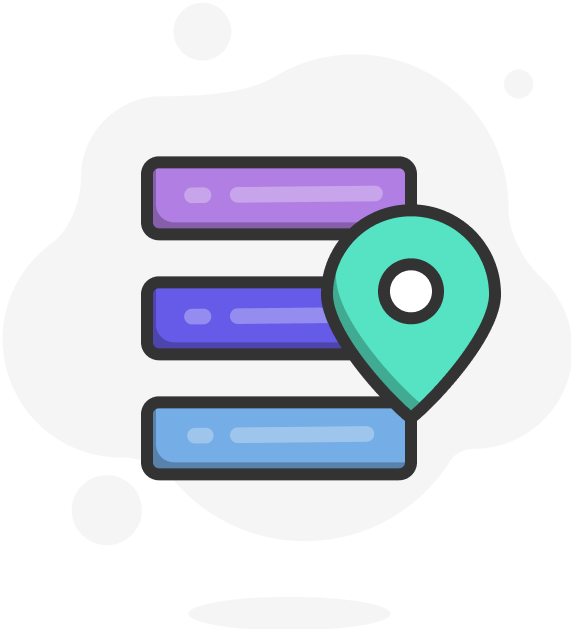 Illustration of messages and a map pin