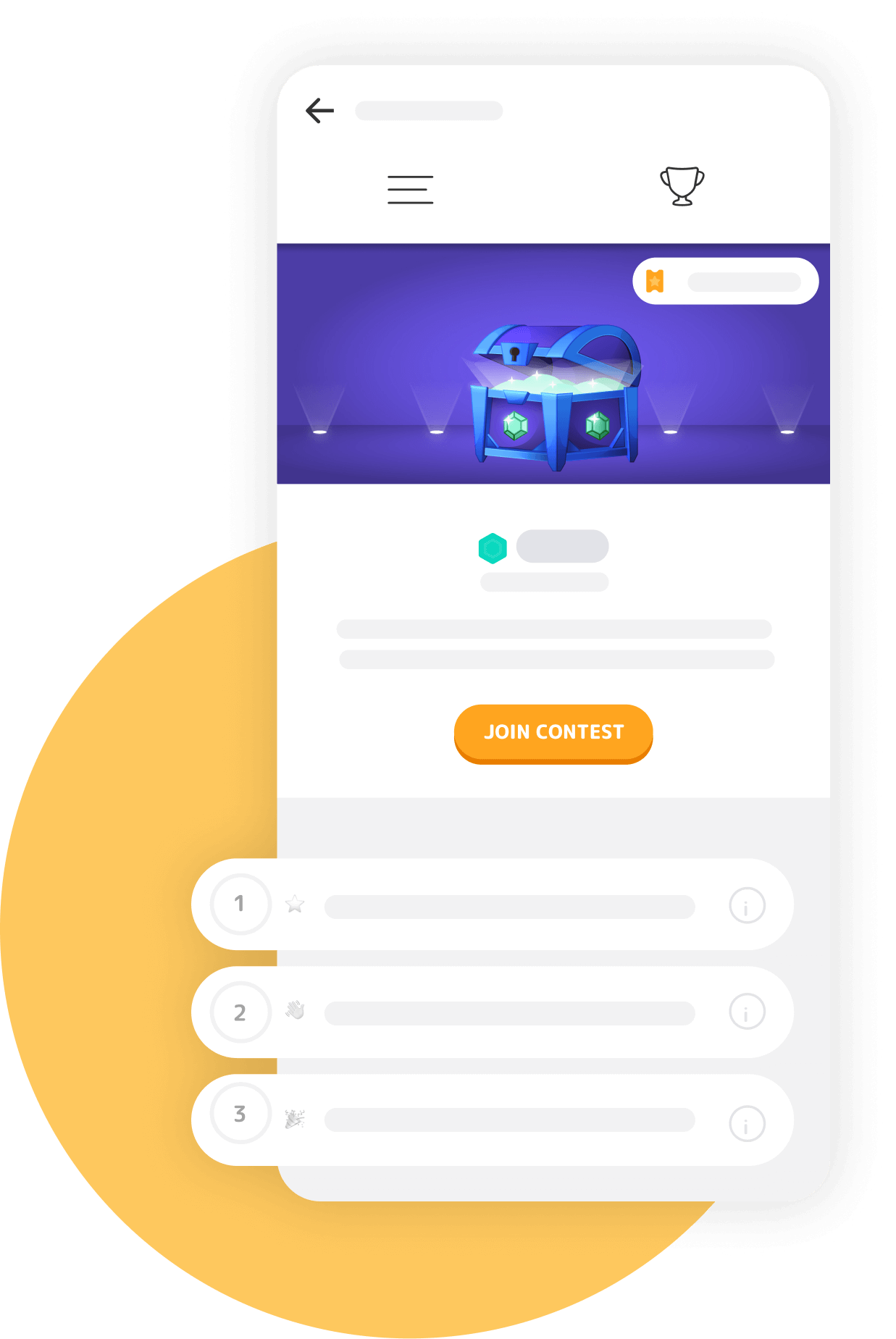 Design of the Mistplay app weekly contest page
