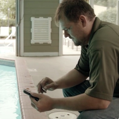 Maxus Lead Maintenance Manager, Anthony Crafton, inspecting a pool
