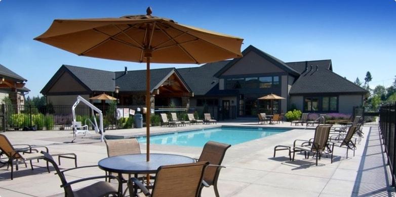 Outdoor community pool at Tarragon property