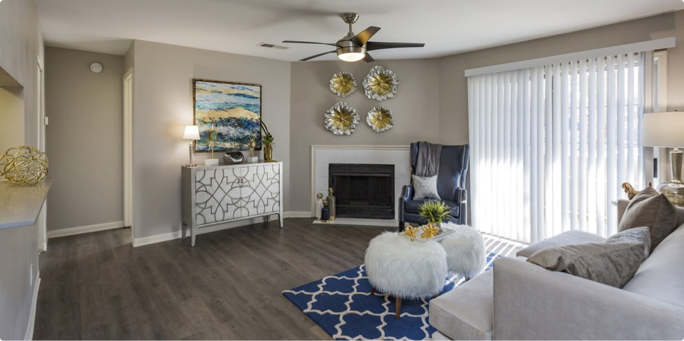 Furnished living room in Steadfast Management multifamily unit