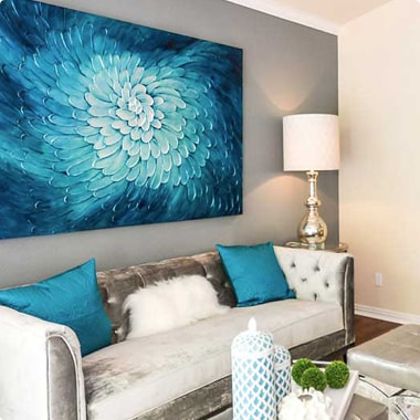 Furnished and decorated living room in Steadfast Management multifamily unit