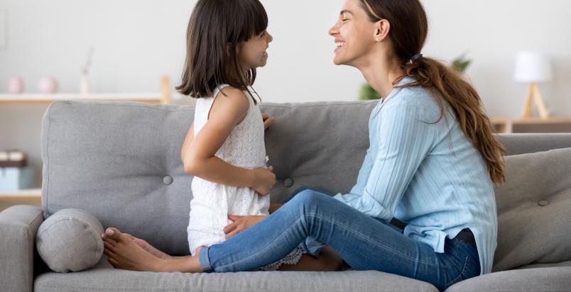 smiling mom daughter