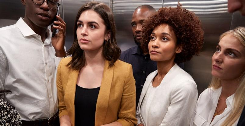 crowded elevator