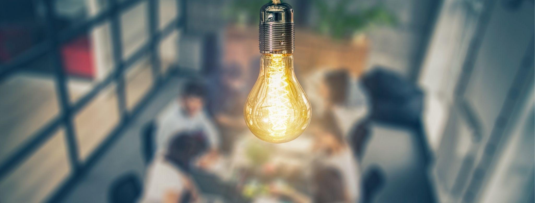 Light bulb illuminating a room.