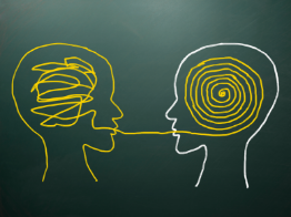 Abstract illustration of two people talking