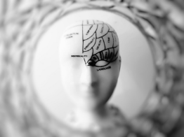 Statue of a human with brain outlined