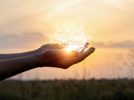 Hand holding a light with a subtle picture of a human brain