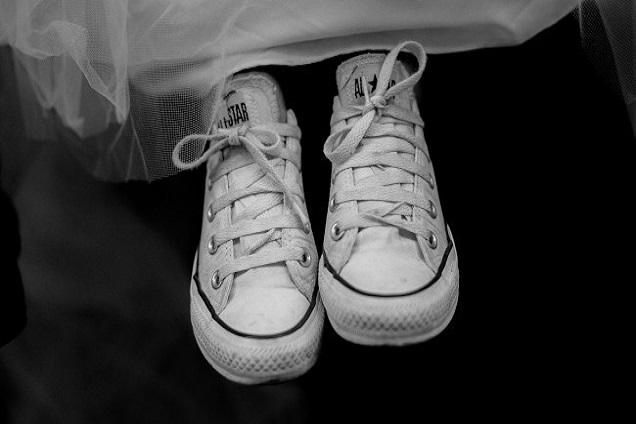 white canvas shoes