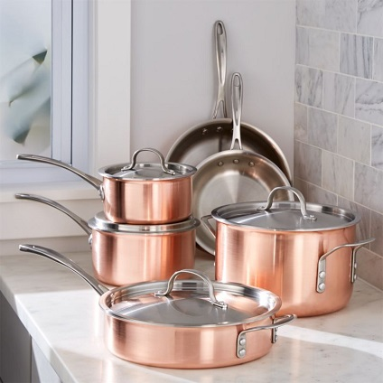 rose gold pots and pans