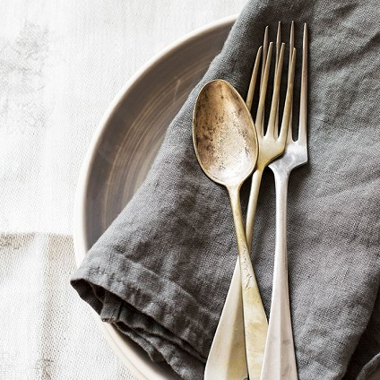 dirty silver cutlery
