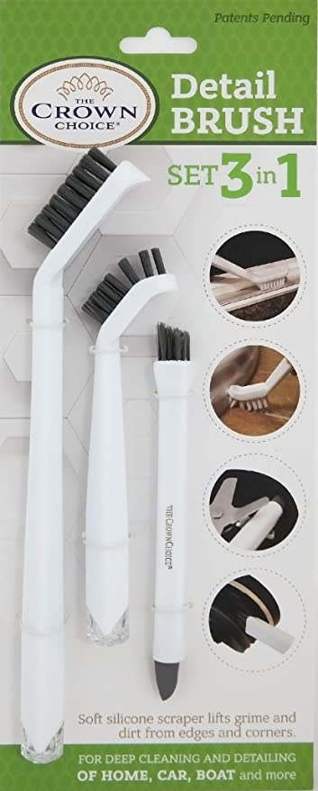 The Crown Choice 3-in-1 Grout Cleaner Brush Set