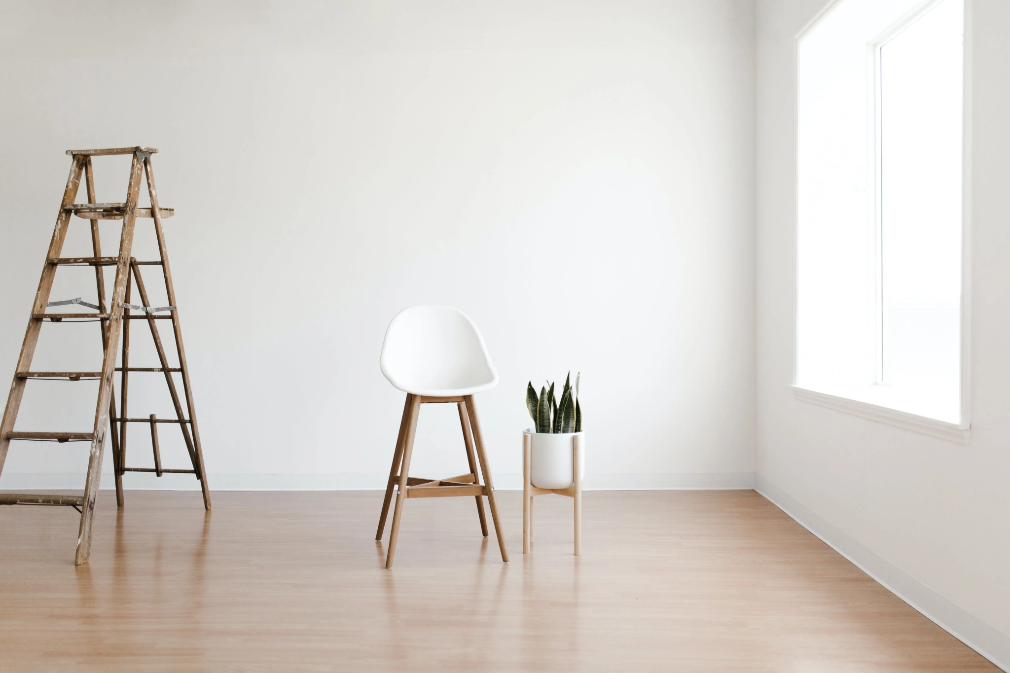 Empty room with chair, potted plant, ladder, and light wooden flooring