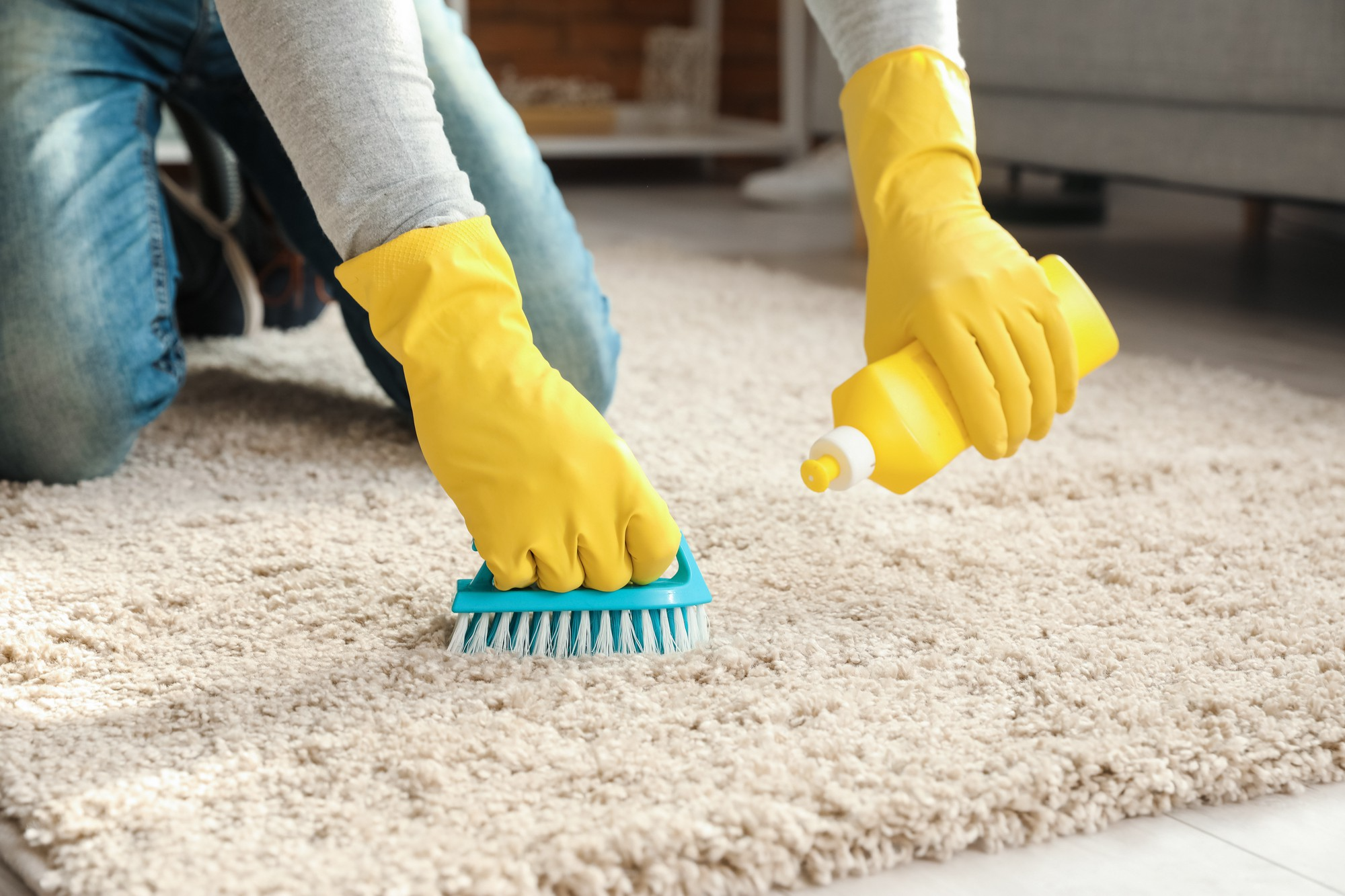 Woman holding scrubber applies cleaner on rug