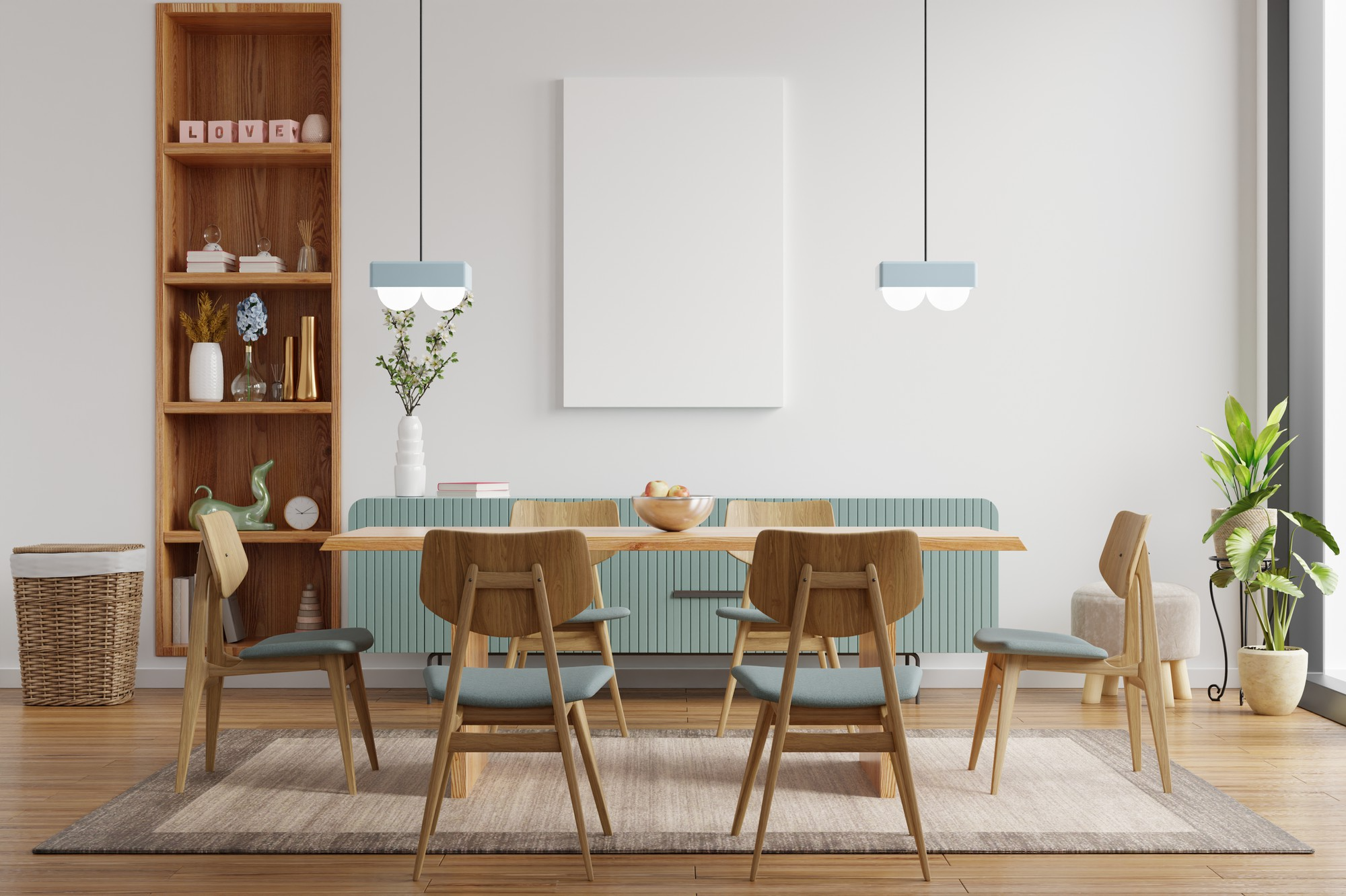 Modern dining room with wooden table and chairs, wooden shelf, and natural fiber rg