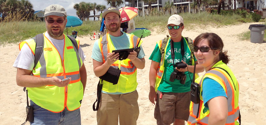 Dark Sky team collecting sea turtle data