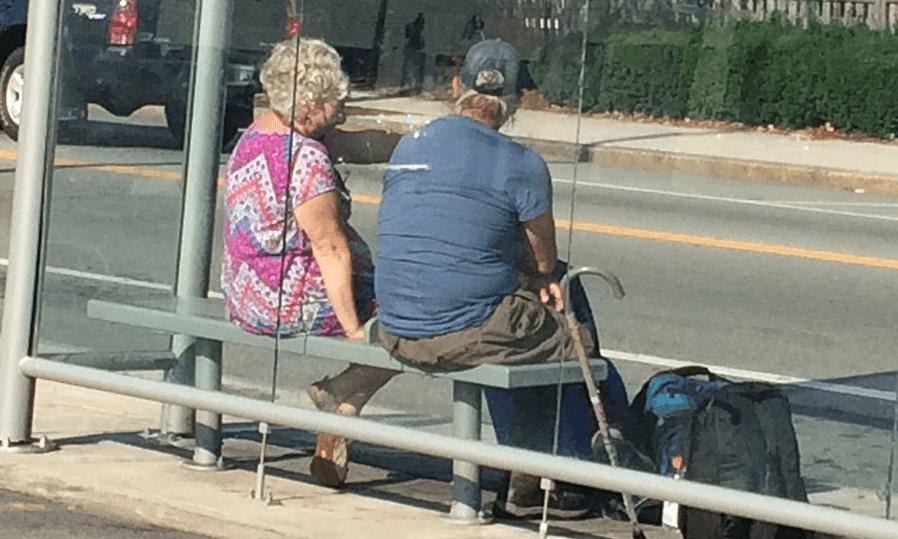 Talking at the bus stop