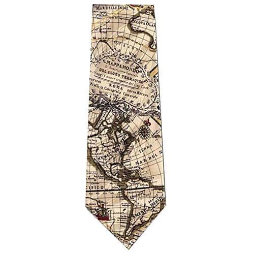 Globe map silk tie