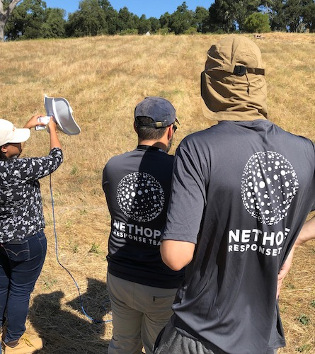 Point-to-point network training, in a grassy field approaching 100°F