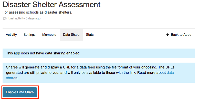 Screenshot 2 of 5 to set up a data share.