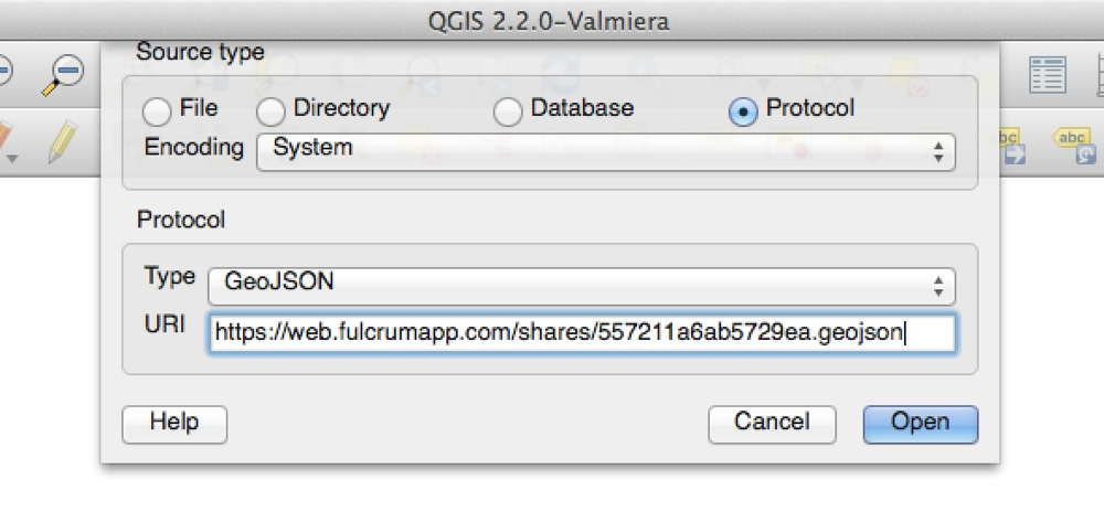 Load into QGIS with URI