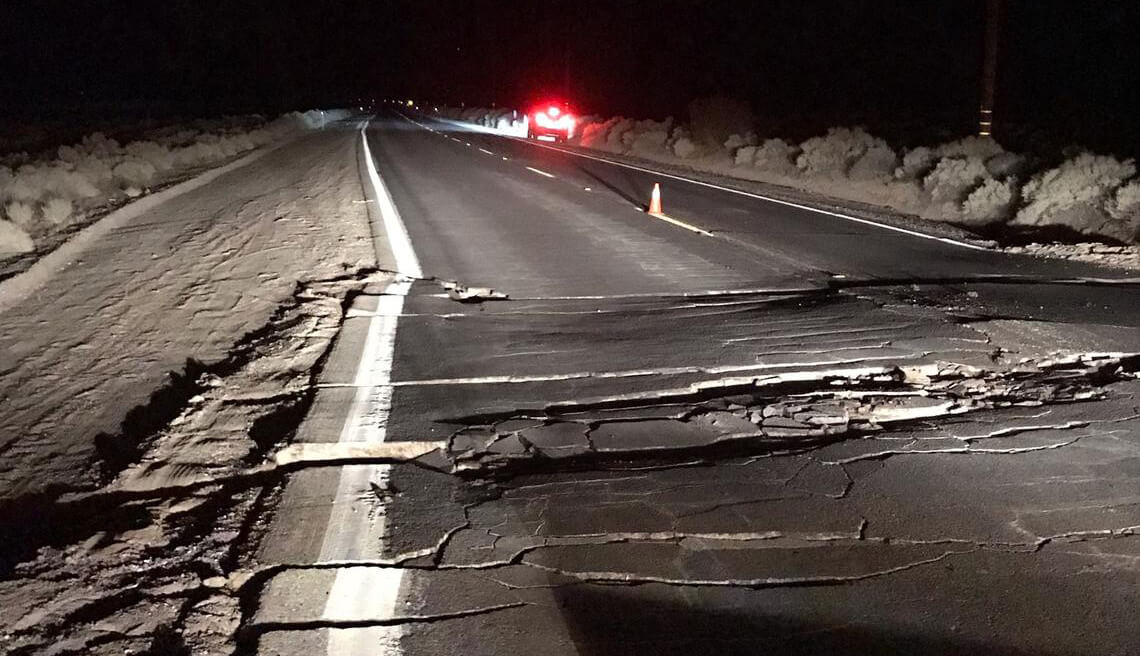 Highway fractured by earthquake