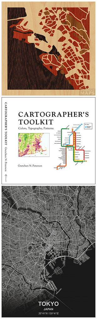 woodcut maps, cartographer's toolkit, and greyscale maps
