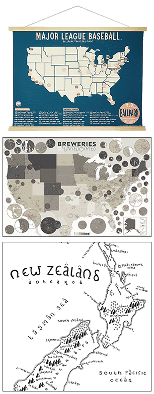 baseball park map, brewery map, and middle earth map