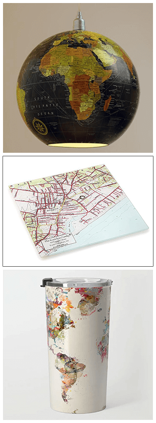 globe pendant lamp, custom cut and prep board, and travel mug with watercolor map of the world