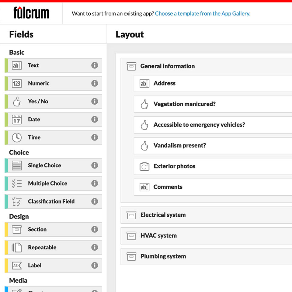image of the Fulcrum app builder with Step 4 highlighted