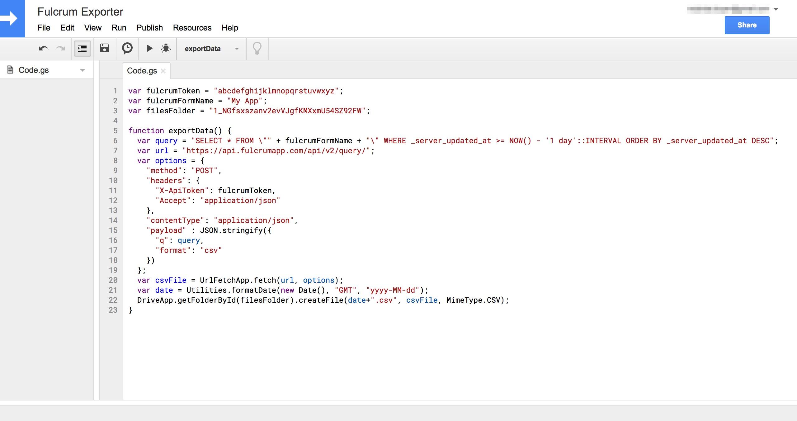 Google Apps Script Exporter Code