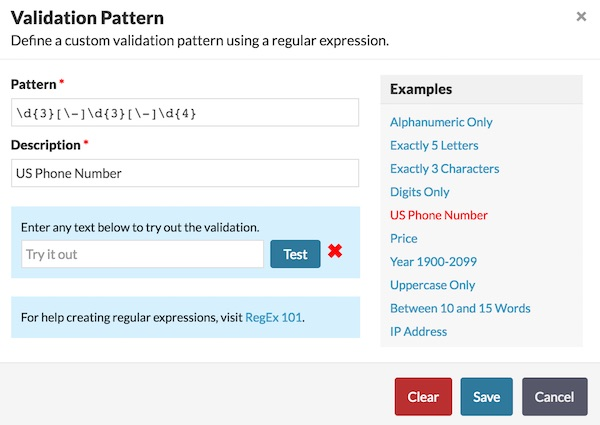 Validation Pattern Screen