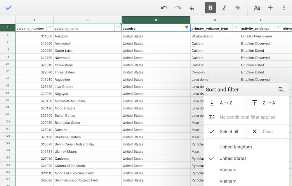 Google Sheets on iPad