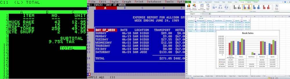 VisiCalc, Quattro, and Excel