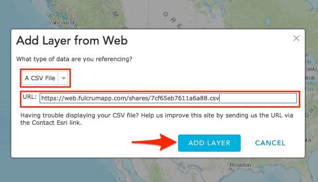Adding CSV layer in ArcGIS Online