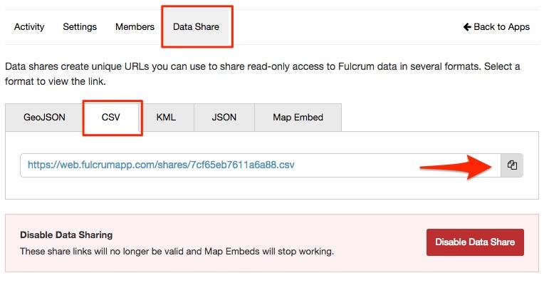 Data Share Settings in Fulcrum