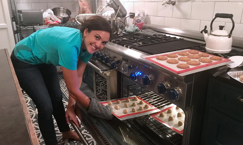 Real Olivia baking cookies