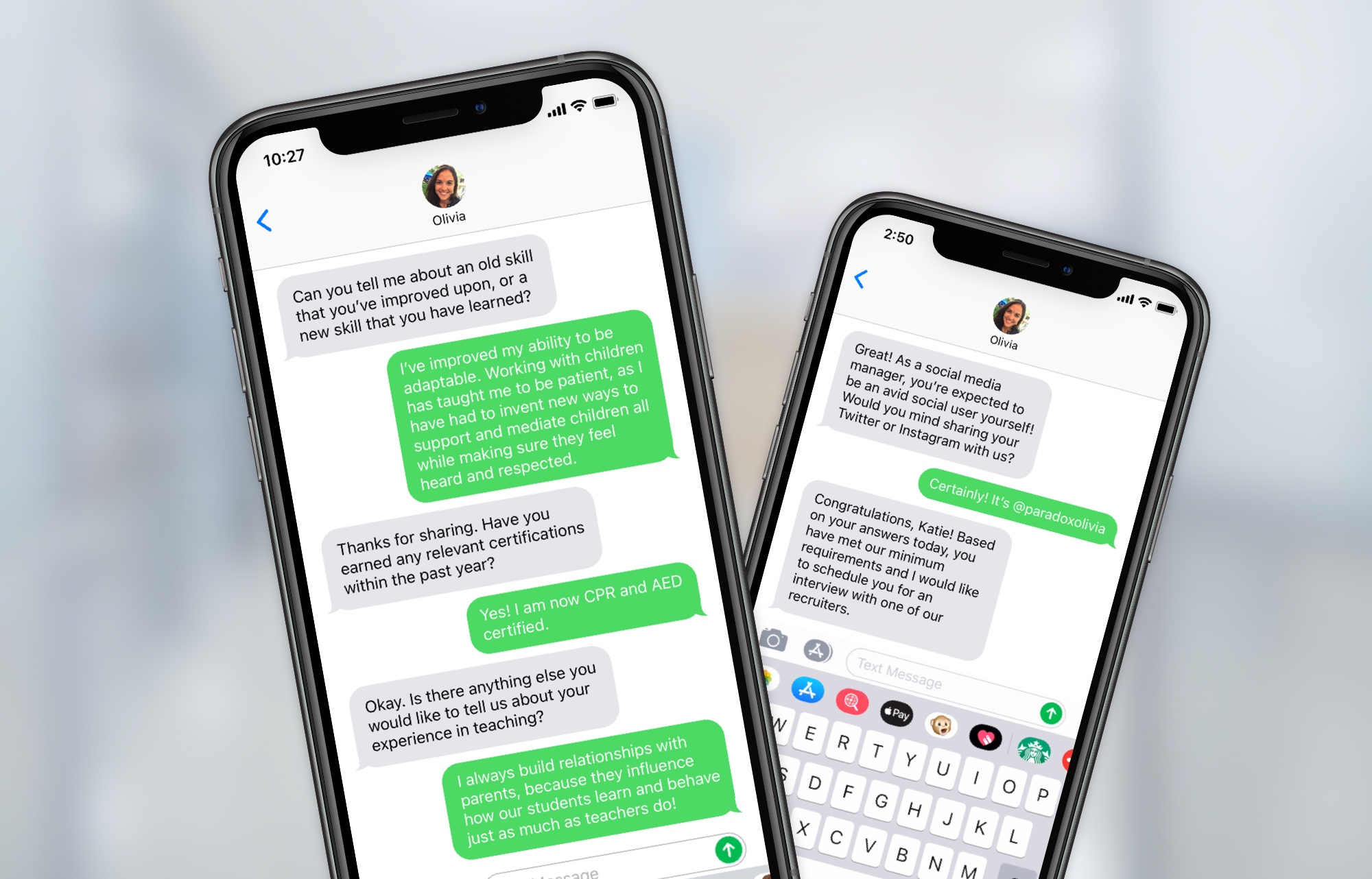 automated mobile text recruiting from Paradox