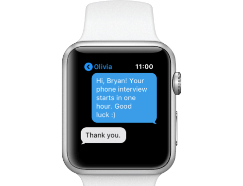 Automated text reminders for high volume hiring