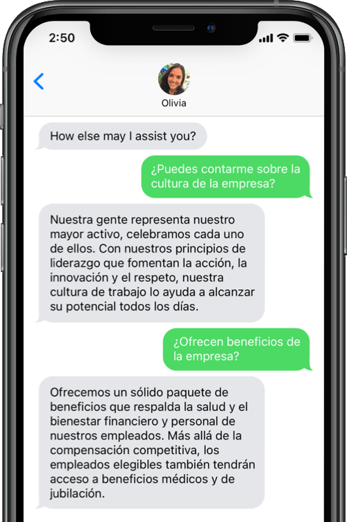 Virtual recruiter Olivia is bilingual, so she can speak to potential hires in Spanish